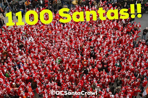 A new @ocsantacrawl record...over 1100 Santas Strong!! We can't believe it! This is going to be the most epic #OCSantaCrawl ever! #grateful #santacrawl #pubcrawl #charitypubcrawl #1000sofsantas #oc #orangecounty #ca #cali #california #newportbeach #newportpeninsula #costamesa #irvine #lagunabeach #happyhour #cocktails #beer #wine #ladiesnight #sexysantas