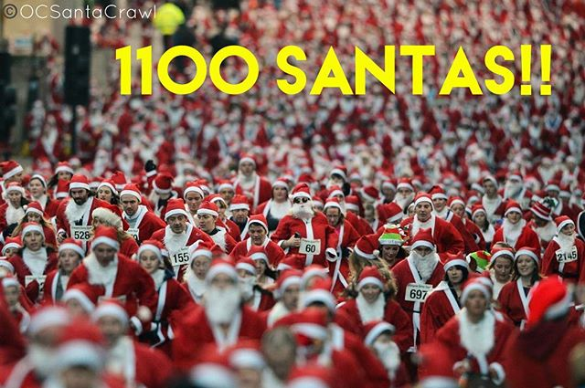 We are nearing record numbers at the @ocsantacrawl this is amazing!! 1100 Santas!!!! See you all at 1pm at Woody's Wharf! #1100santasstrong #ocsantacrawl #santacrawl #pubcrawl #barcrawl #beer #wine #cocktails #happyhour #sexysantas #newportpeninsula #newportbeach #orangecounty