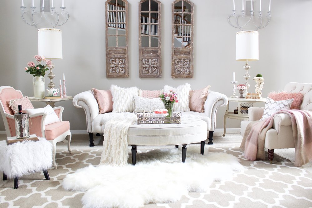 Post styled with lace for Romantic living room designs