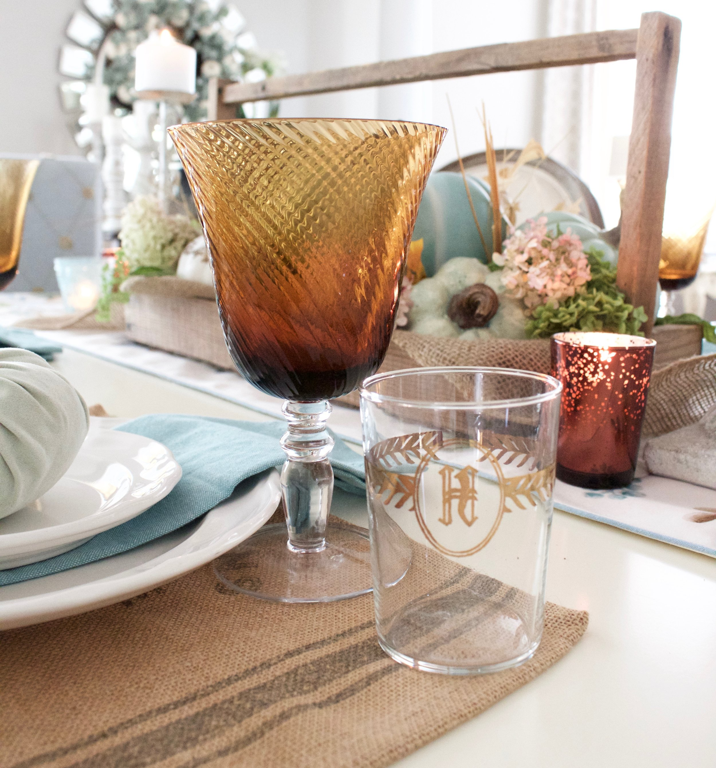 How To Use Blue in Fall Decor | A Farmhouse Tablescape