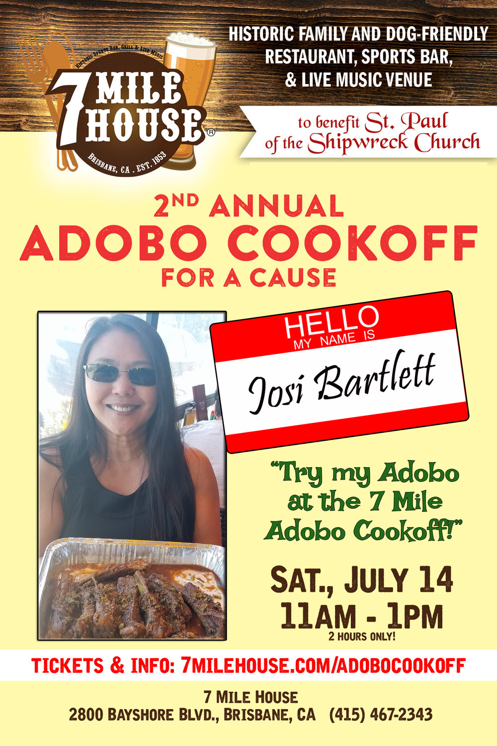 """1st place winner! - Josie Bartlett shares """"As a native San Franciscan, Adobo is my favorite Filipino comfort food. As a non-cook, my adobo is my One-Hit-Wonder. It's the only dish I take pleasure in making because I enjoying seeing the expressions of delight when people eat my adobo. Never expect leftovers. ENJOY!"""