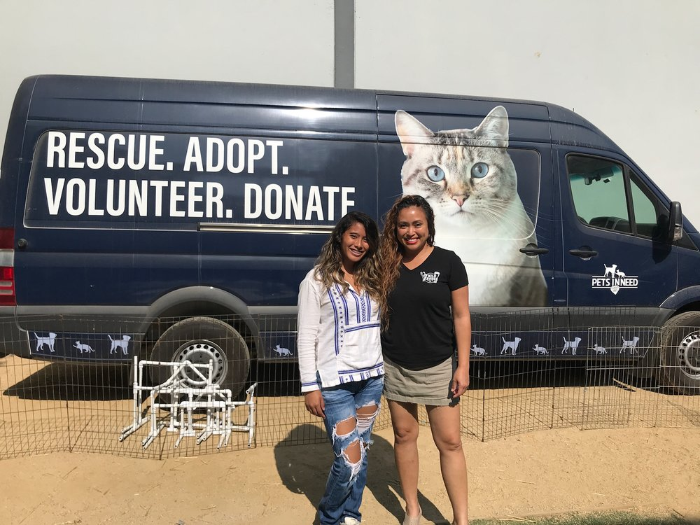 Vanessa Garcia, and daughter Visa, visit the Pets In Need facility in Redwood City for Clear The Shelter Day.