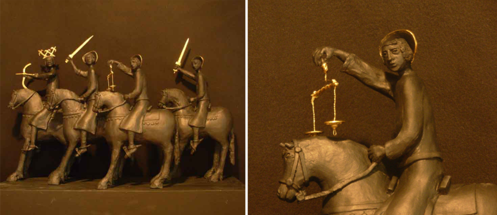 Four Horsemen of the Apocalypse   Black sculpture clay, graphite, gold leaf