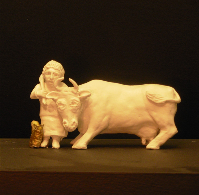T he Cow and her Man   Porcelain and gold leaf