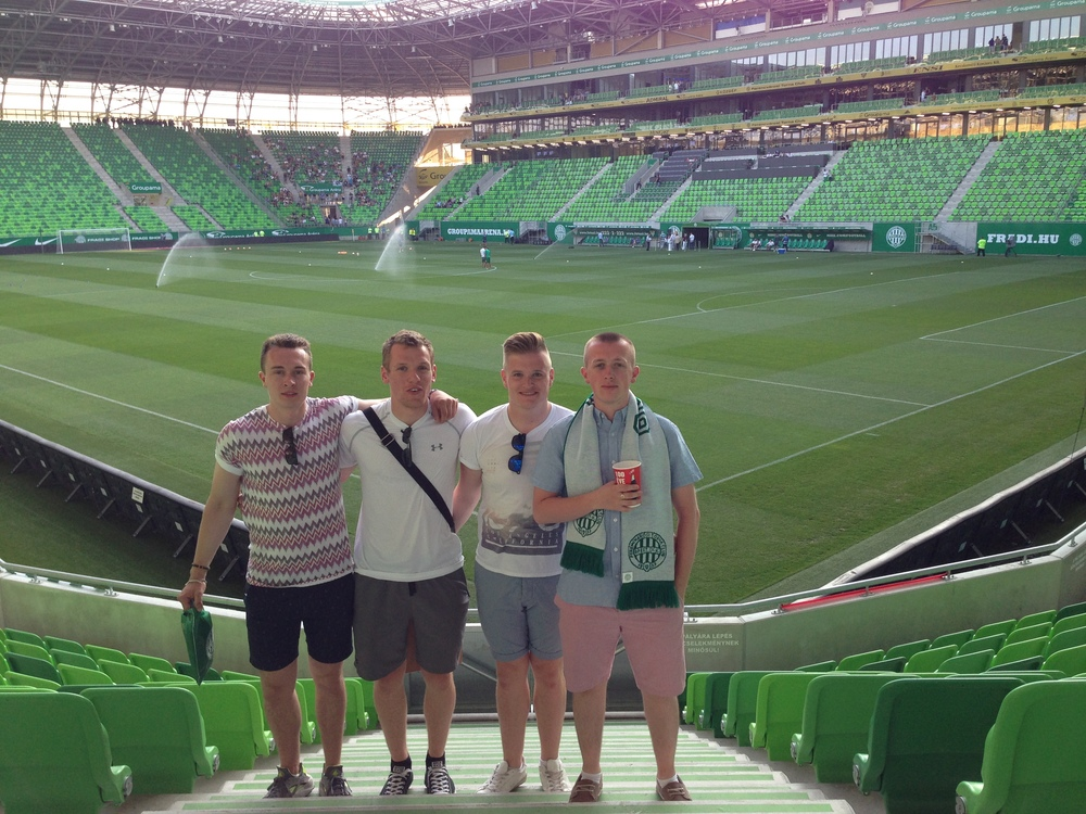 A summer's evening in Budapest watching football with the lads. Not a bad way to live.