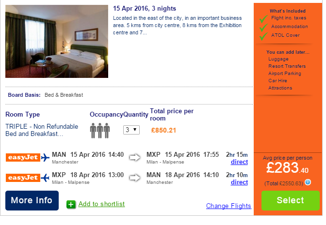 And here is a city centre hotel, found on the    Co-Op Travel    website, on the same dates and with the same number of rooms for the same number of people. The difference? Oh, just £132.67 per person.