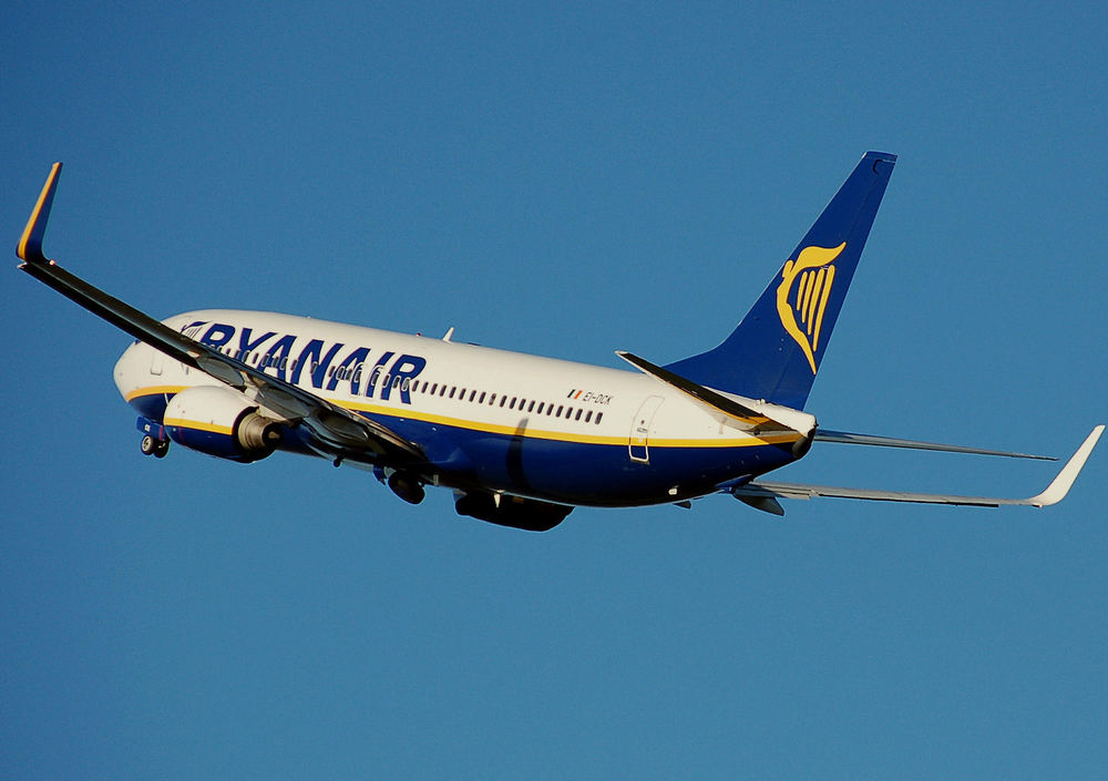 One of Ryanair's planes during takeoff.