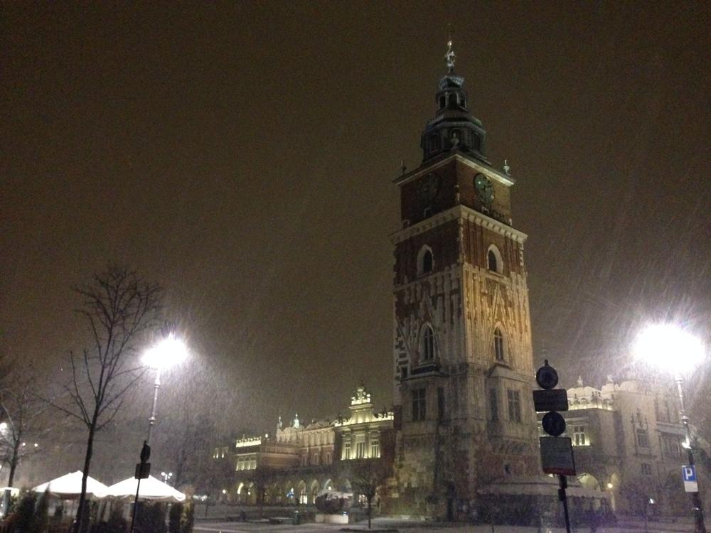 Krakow's main square at night.