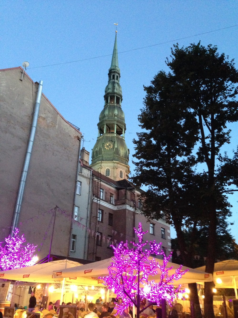 St Peter's Church rises above the buildings in Riga's old town.