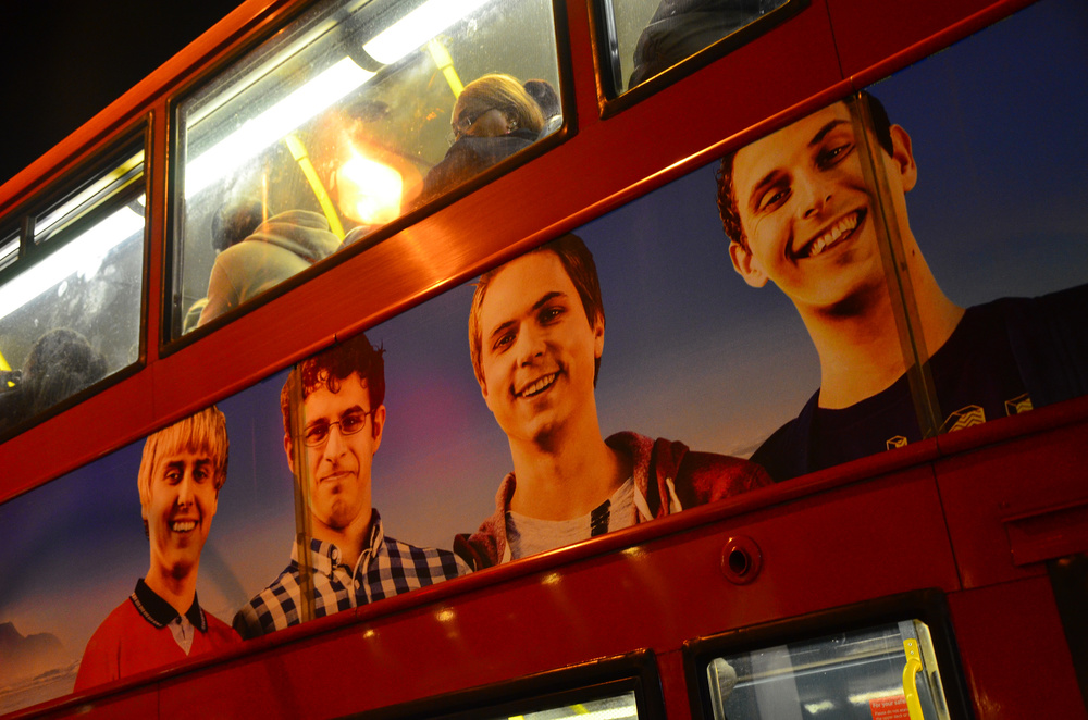 Will McKenzie, seen second from the left on this bus advertisement, uses a money belt when he goes travelling in The Inbetweeners 2 - much to the dismay of the other lads. Image credit:    Ben Sutherland   /Flickr