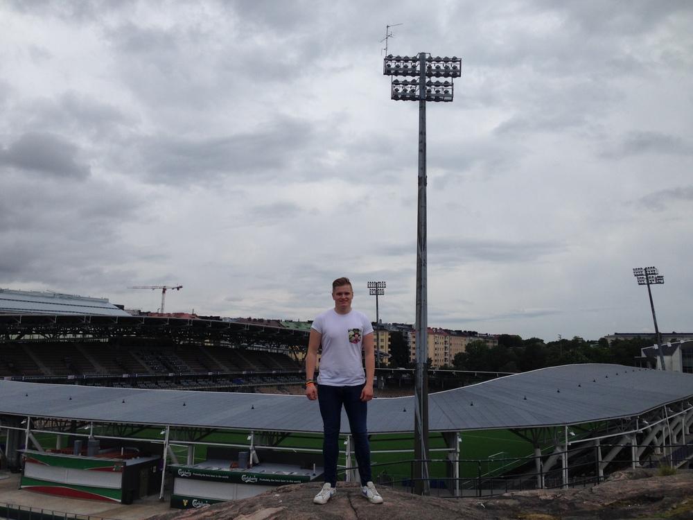 Me outside Sonera Stadium, home of HJK Helsinki.