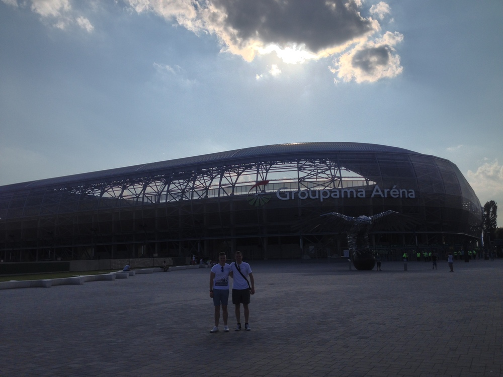 Outside Ferencvaros' Groupama Arena in Buapest, Hungary.
