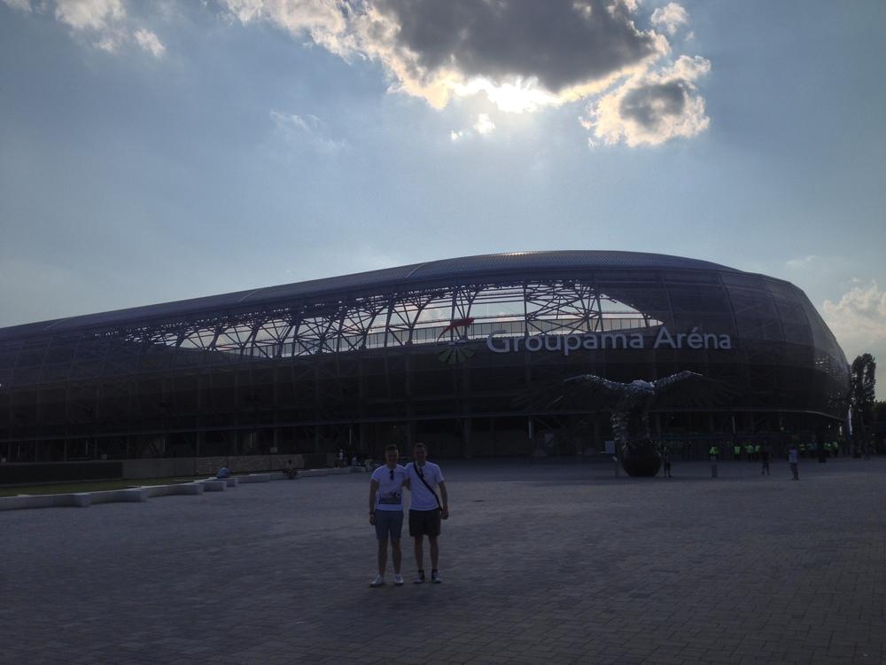 Outside Ferencvaros' Groupama Arena in Buapest, Hungary.