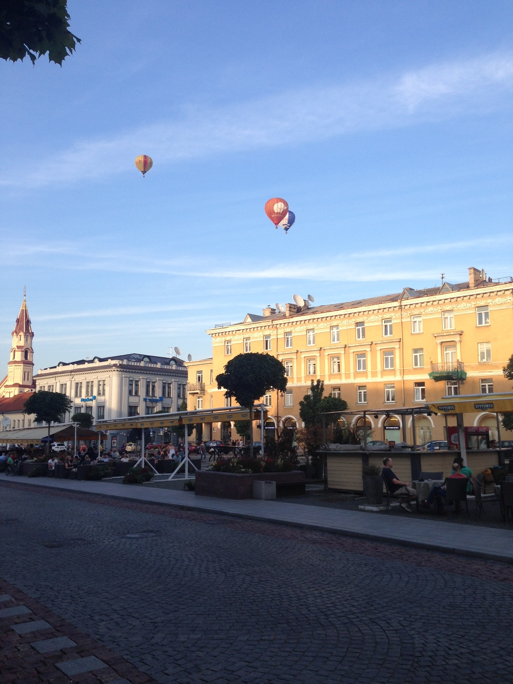 Town Hall Square in the evening. Keep an eye out for hot air balloons, which frequently fly by.