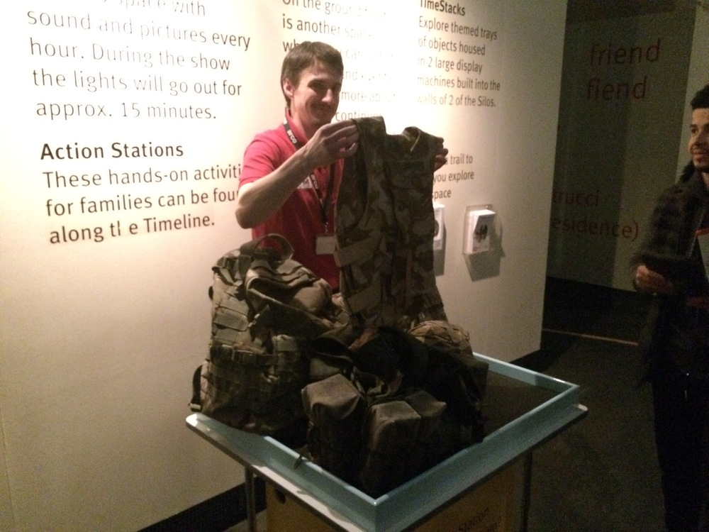 Visitors can try on real warfare equipment. One of the interactive exhibits that the IWM has.