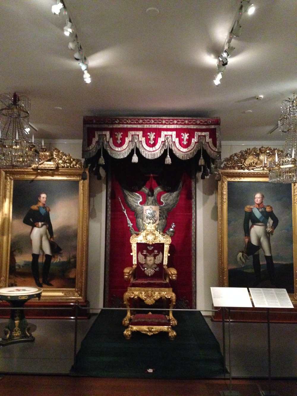 The imperial throne of Tsar Alexander I, who was the first Russian Grand Duke of Finland, on display at the museum. It dates back to the 1810s.