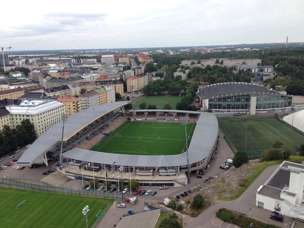 HJK Helsinki's Sonera Stadium, which is also where the headquarters of the Finnish FA is located. The rock which is visible just to the left of the white building on the far right of the image is a great spot to stand for a picture.