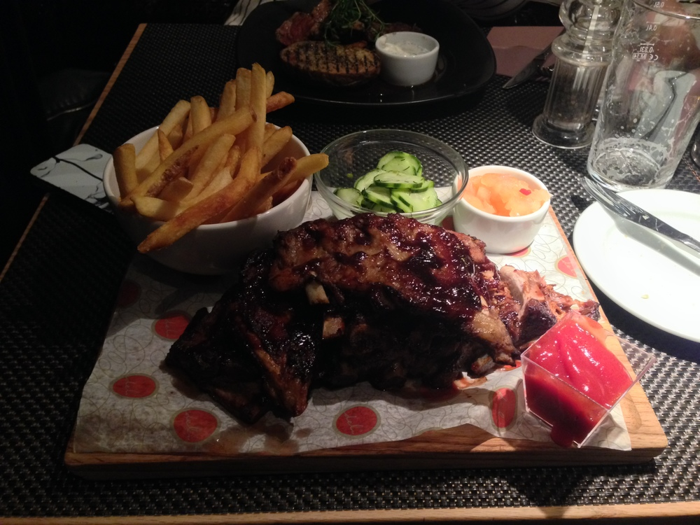 The ribs from Marski Bar & Restaurant's menu. The restaurant is part of the Scandic Marski hotel.