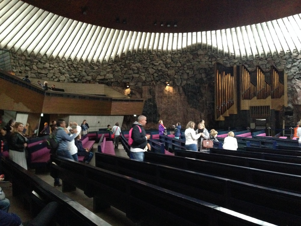 The second deck and organ at Temppeliaukio Church.