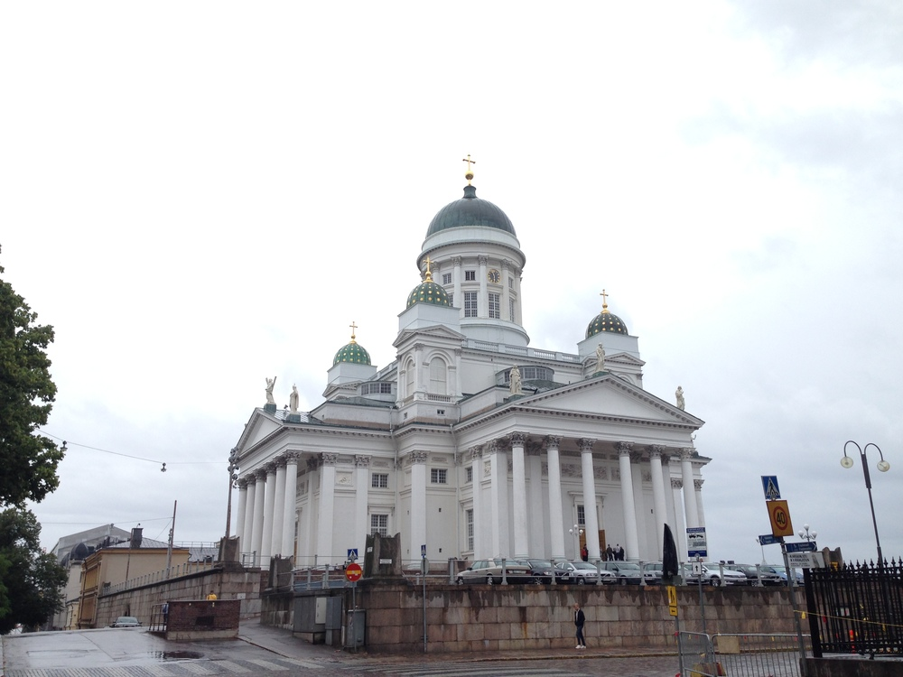 Helsinki Cathedral on a wet and windy day in the Finnish capital.