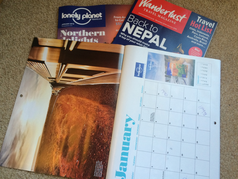 The free calendar, which has already been marked with Oslo, Eindhoven and Belfast for my travels in January, came with January 2016's Lonely Planet magazine.
