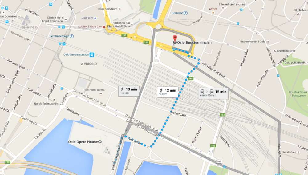 Here is a map of Oslo city centre from Google maps, showing more than one route from the bus station to Oslo Opera House.  I'll be heading to the Norwegian capital  this weekend. Image credit: Google/Fair use