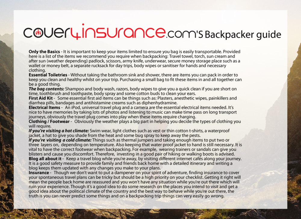You can find the original backpacker's guide blog post on Cover4Insurance's website.