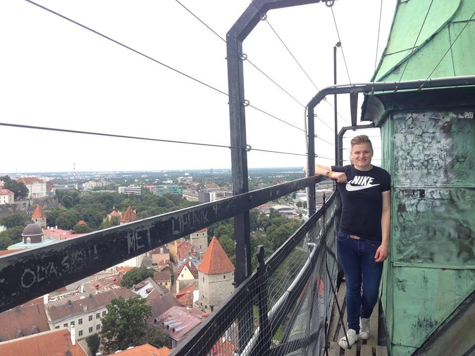 Here I am atop St Olaf's Church overlooking Tallinn, Estonia.