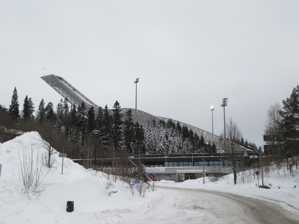 The ski jump is visible from many parts of the city centre as it is a large and protruding structure on the hillside.