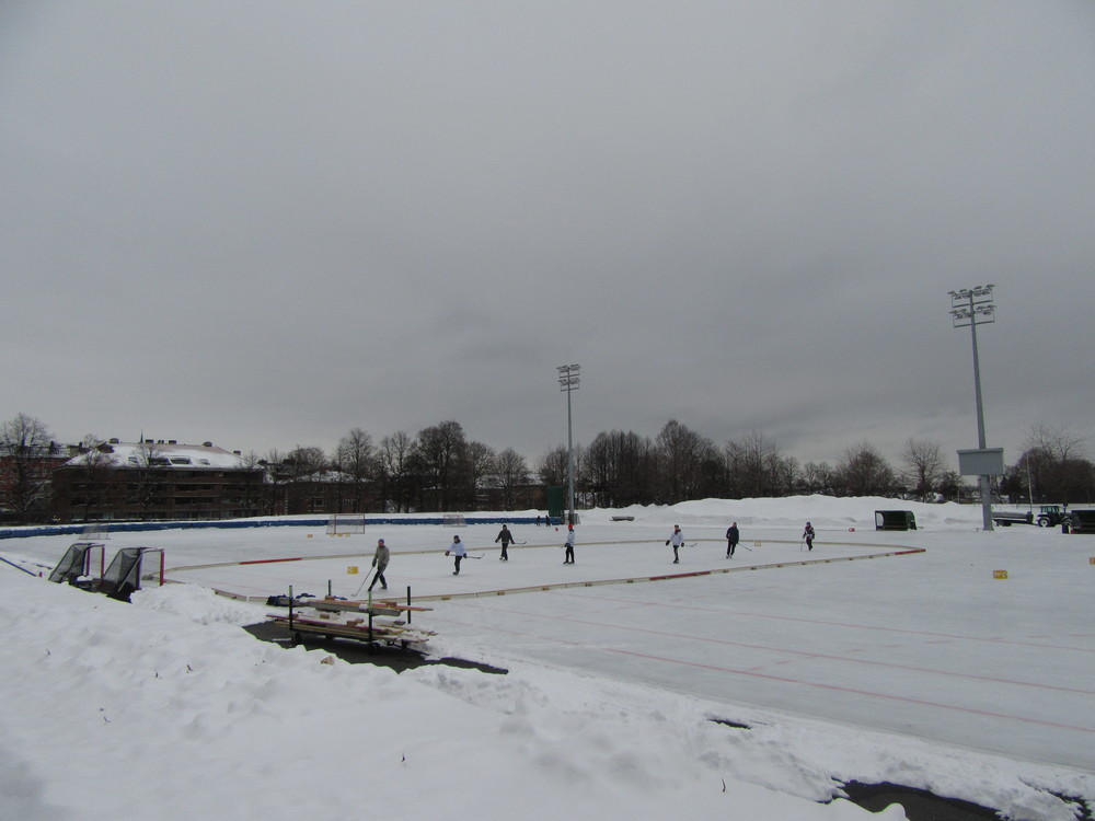 A game of ice hockey taking place at Frogner Stadion.