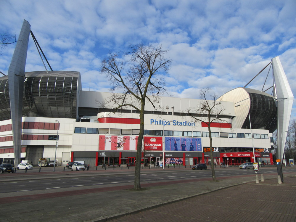 The outside of PSV Eindhoven's Philips Stadion, just a short walk from the very centre of the city.