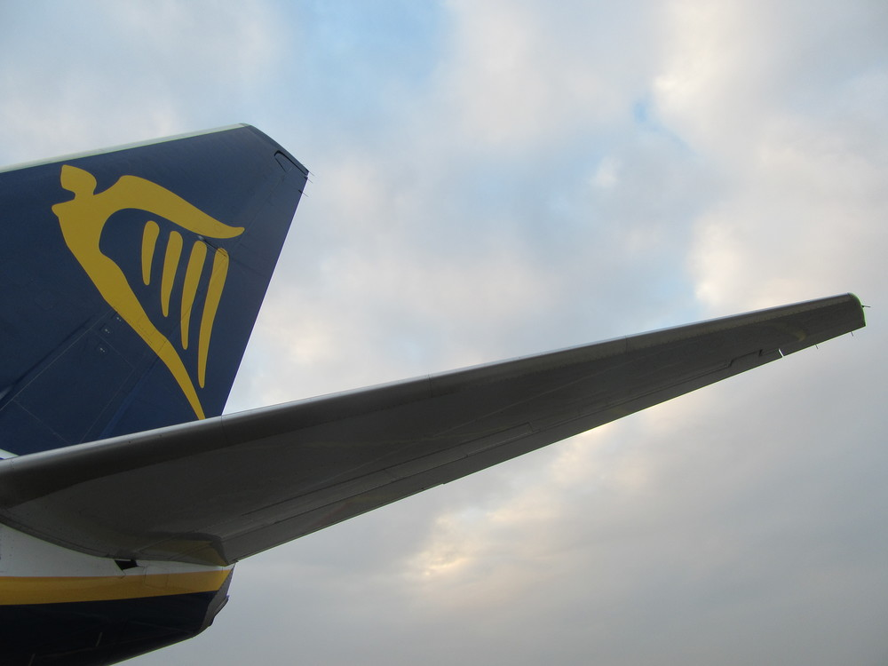 The tail of a Ryanair plane in Eindhoven last month.