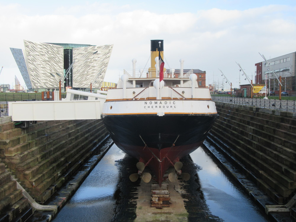 The Nomadic stood in its dry dock at Belfast's Titanic Quarter.