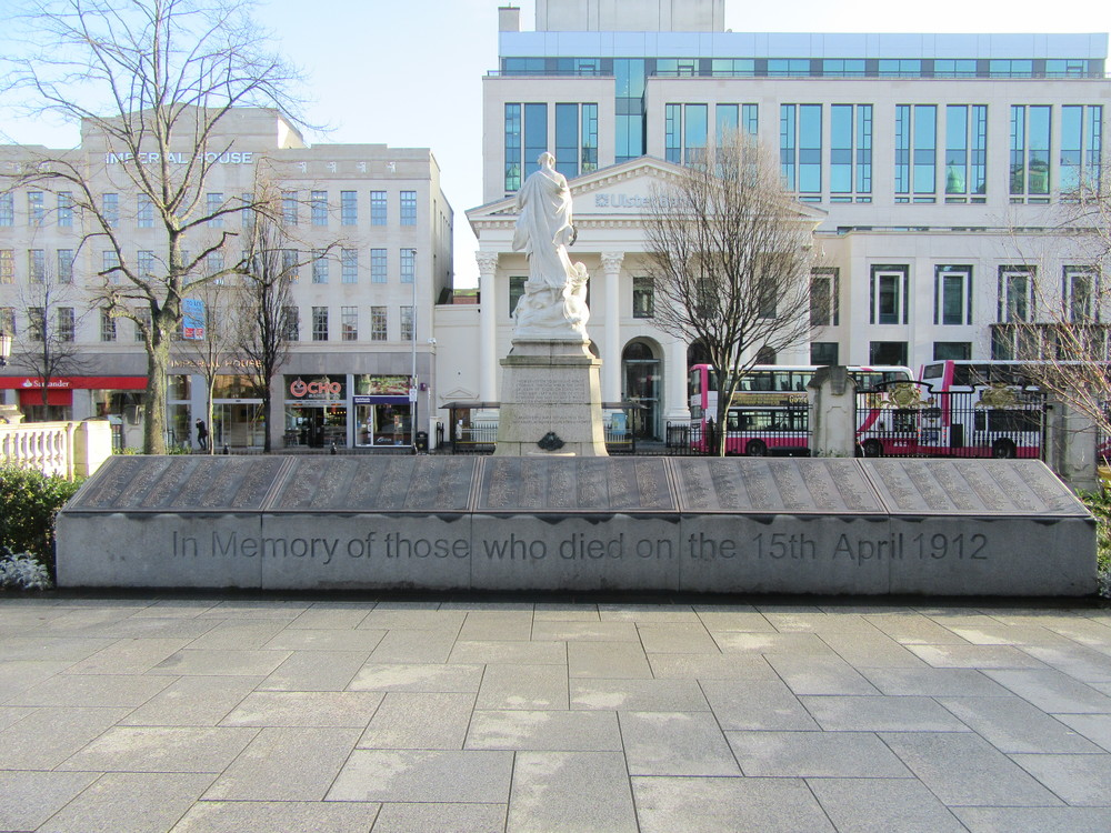 A memorial to the victims of the Titanic's sinking outside Belfast City Hall.