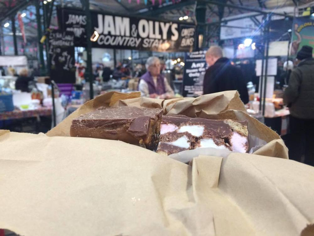 Millionaire's shortbread and rocky road squares from Jam & Olly's Country Stall at Belfast's St George's Market. Highly recommended.