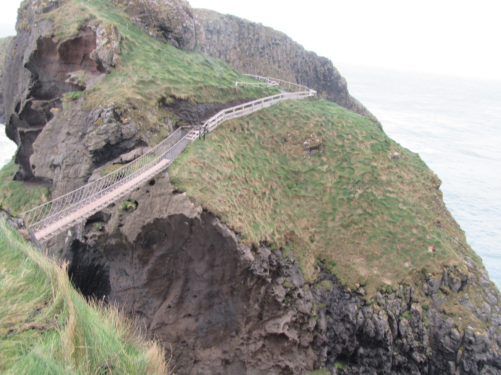 We were allowed to look at Carick-a-Rede Rope Bridge, but the high winds meant that we weren't allowed to cross it.