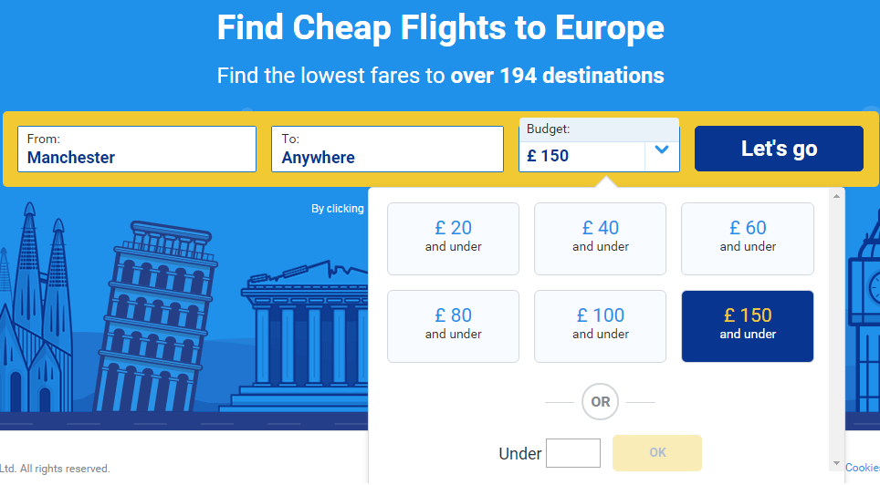 A screenshot of the  Ryanair  fare finder. It makes it easy to search multiple destinations at once, and list them in price order. You can also restrict searches to match even the tightest of budgets.