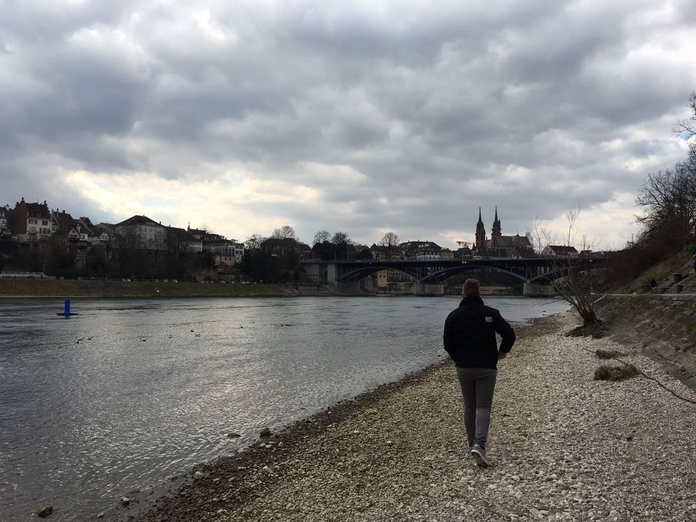 Walking alongside the Rhine here in Basel, Switzerland.