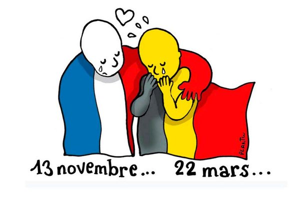 An image doing the rounds on    social media    showing the French flag consoling the Belgian one. Both countries have suffered terrorist attacks in the past six months.