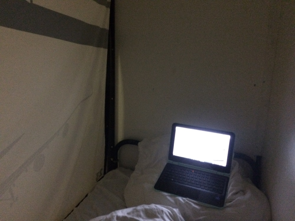 The top bunk setup!