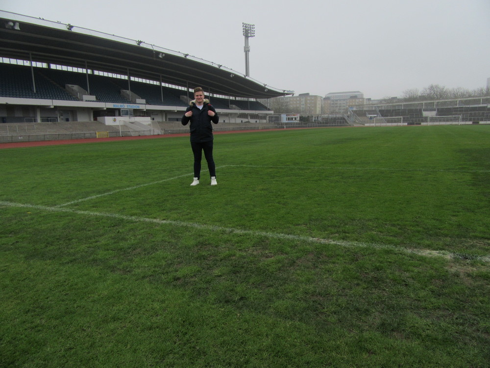 Getting on the pitch at Malmo Stadion was one of the highlight of the trip.