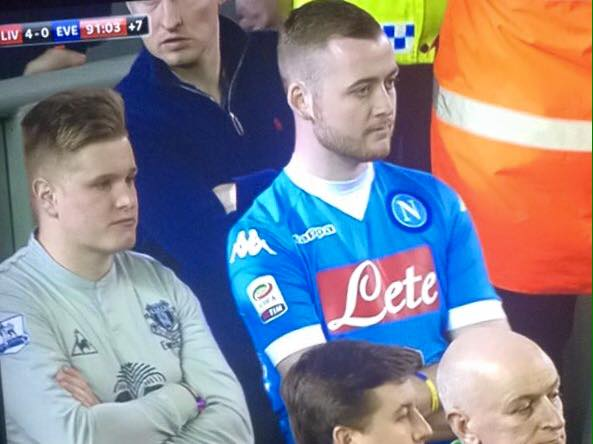 Me and my mate Finno on the television at Anfield on Wednesday night.