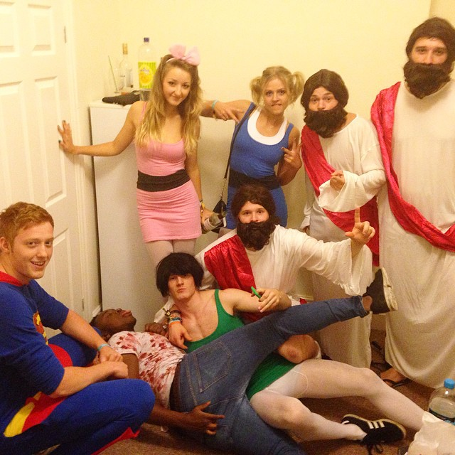 Nights out are surely a highlight of most British students' university experience. Here I am with my friends in second year, crouching in the middle dressed as Jesus.
