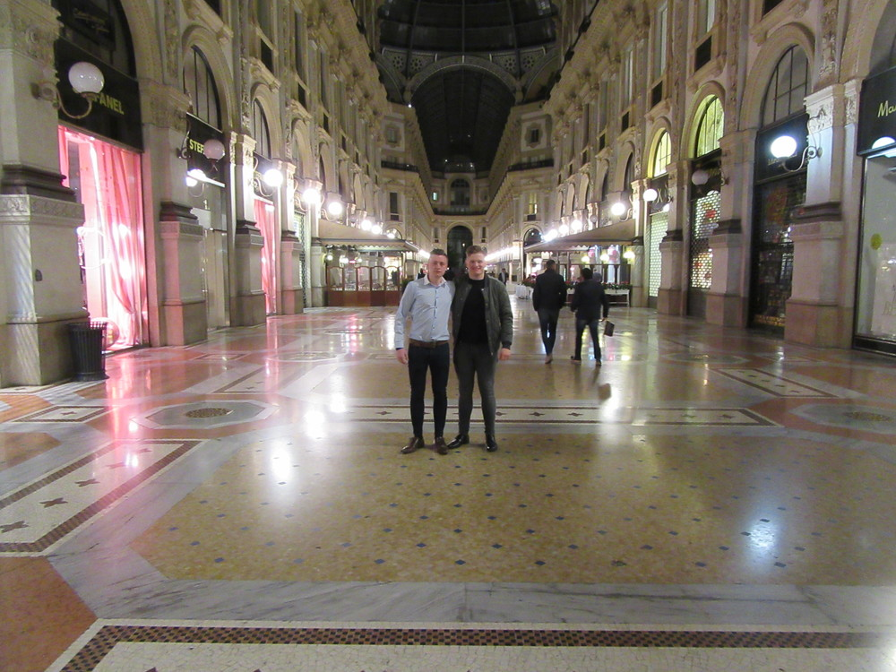 Inside the galleria at night.