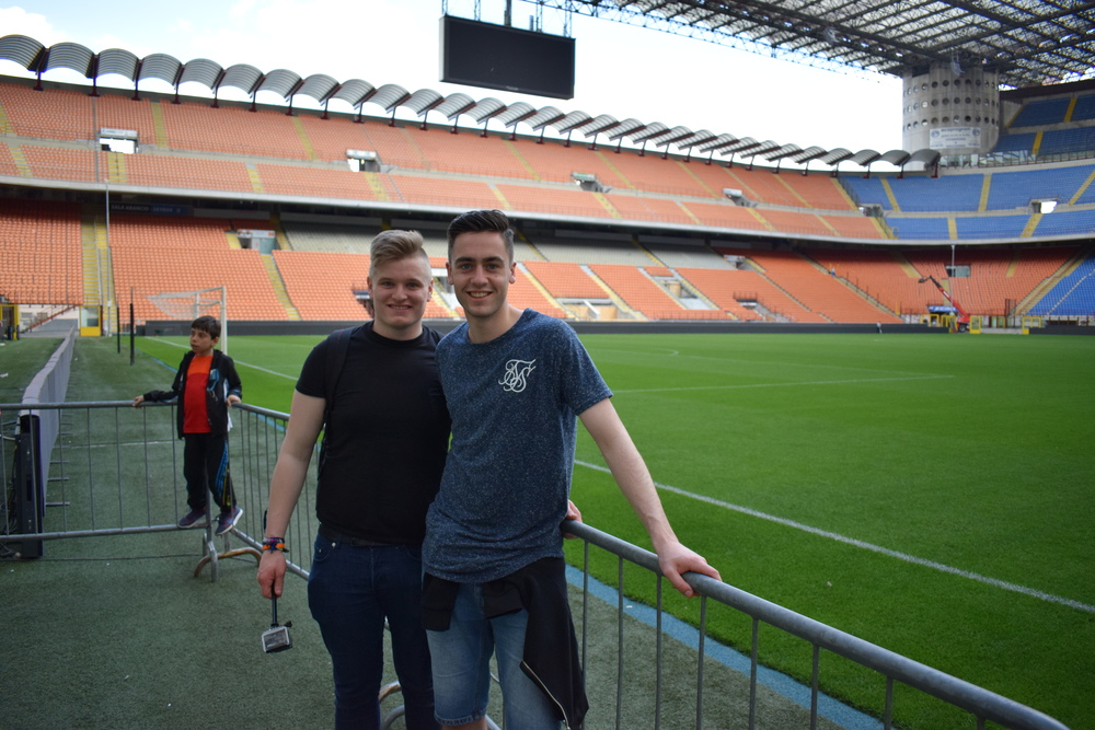 Pitchside at the San Siro. Grass with a lot of history.