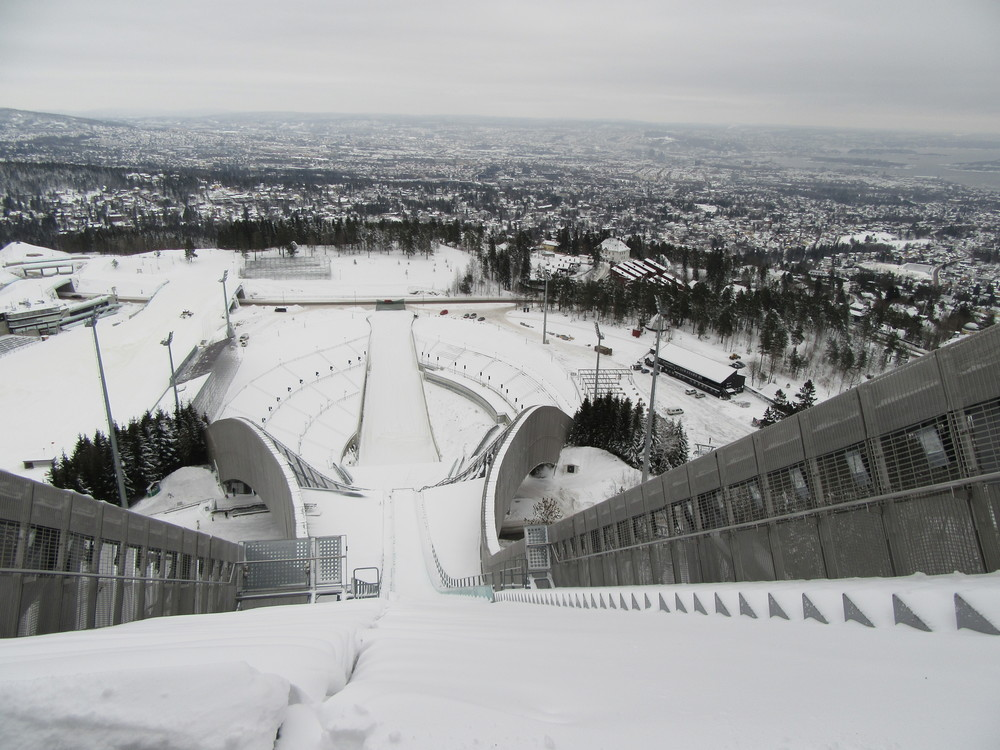 Looking down from the top of the ski jump.