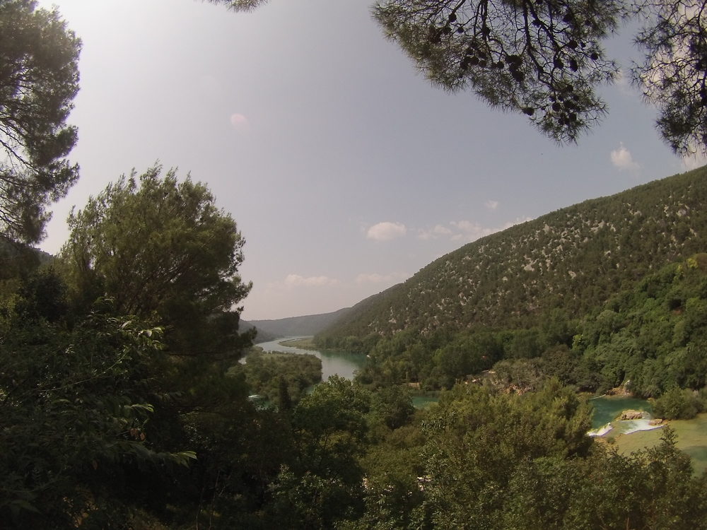 Snapping a picture of the River Krka from one of the vantage points.