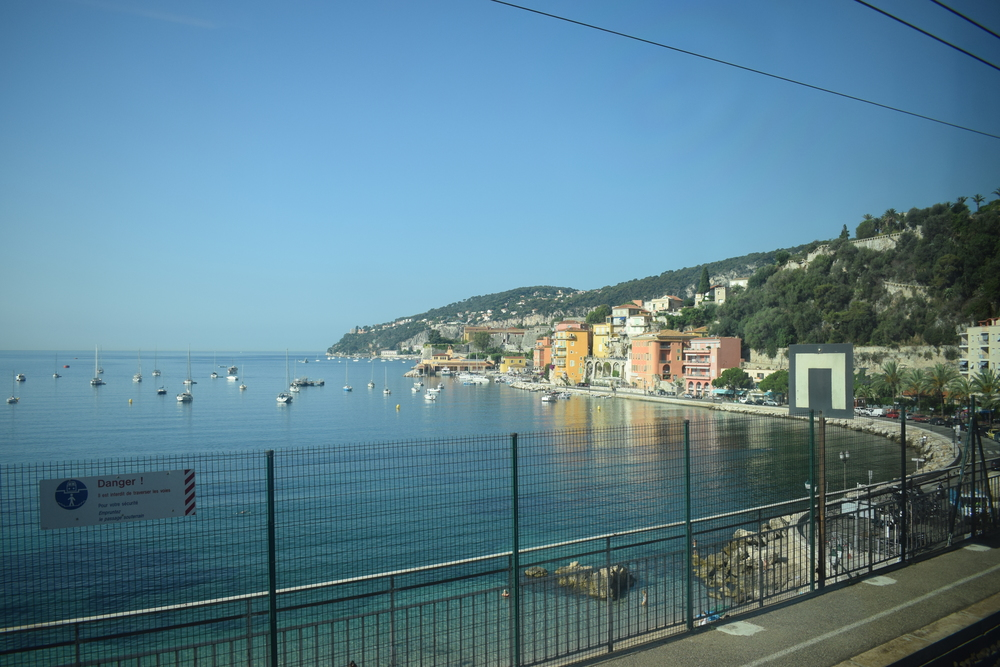Admiring the coastline from Villefranche-sur-Mer station.