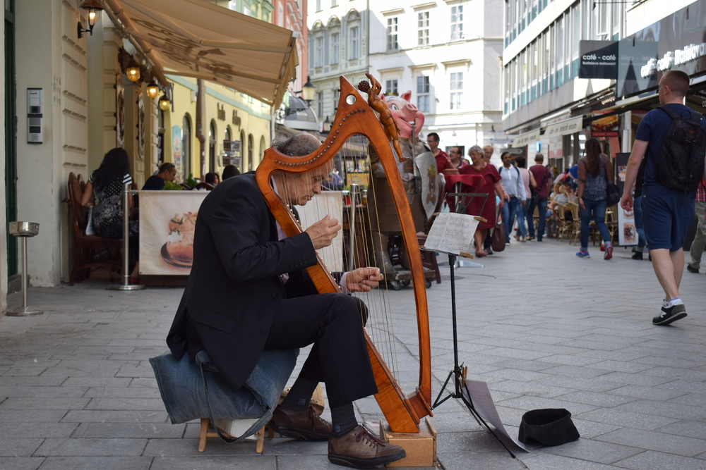 A harpist on the streets of Bratislava - further proof of the city's harmonious vibe.