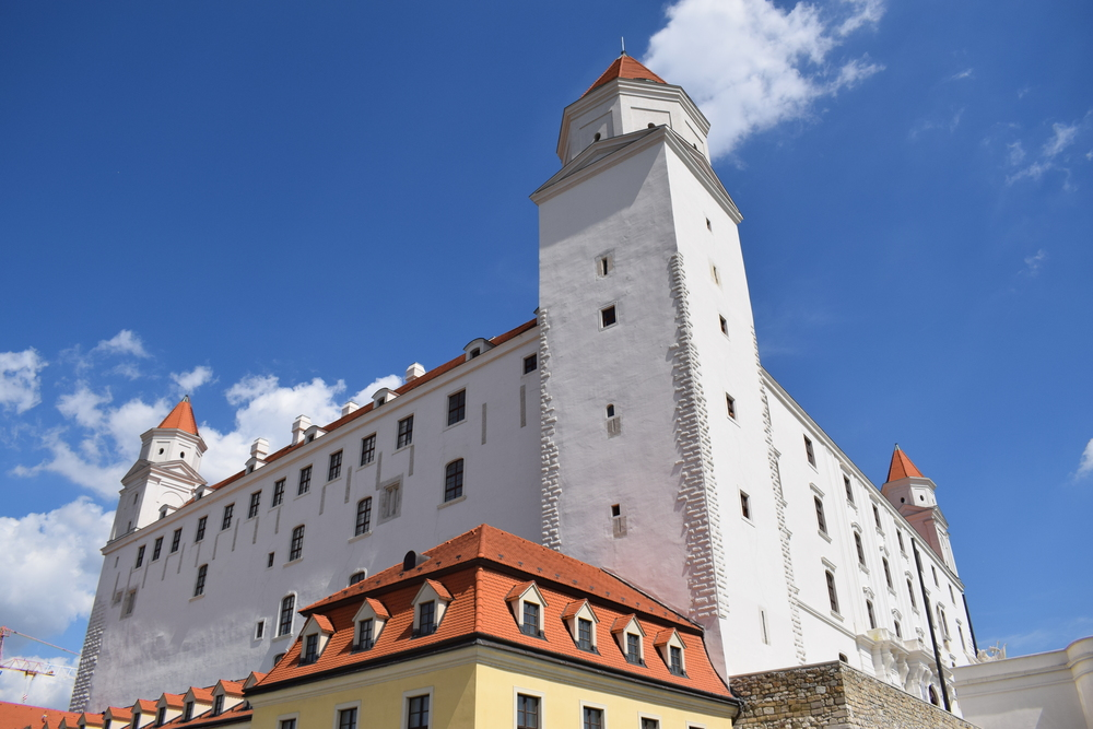 Bratislava Castle was recently renovated and painted white.